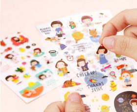 君道 韩国gracebell甜美可爱卡通小女孩6入贴纸 DIY装饰贴纸