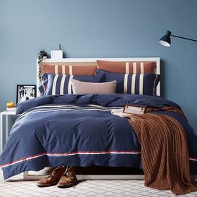 制帛坊家纺美式纯棉纯色四件套全棉床单被套1.51.8m米床上用品