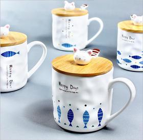 创意猫咪和鱼陶瓷杯  木盖带瓷勺