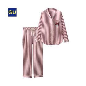 GU睡衣女士家居服性感简约翻领長袖長裤套装女/M/L