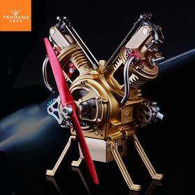 【机械控的玩具】拼装发动机模型系列-V2型凸轮顶置(底置)发动机