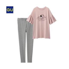 GU睡衣女士家居服性感简约翻领短袖長裤套装女/M/L