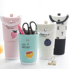可爱创意可伸缩帆布笔袋 大容量文具笔盒