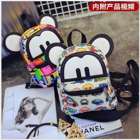 新款迷你小号米奇双肩包 时尚韩版帆布彩绘两用背包胸包
