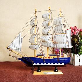 木质帆船摆件 一帆风顺 做工细致
