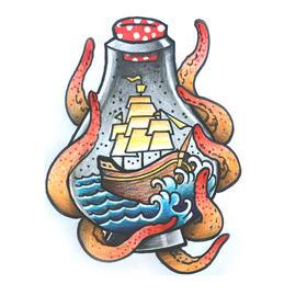 原创图 | 美式传统瓶中船 by 纹身师 K