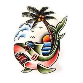 原创图 | 美式传统纹身鲨鱼椰树 by 纹身师 K