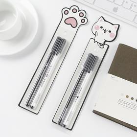 可爱猫咪中性笔套装组合 黑色0.5mm  2支装  文具