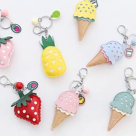 皮质冰淇淋钥匙扣  文具