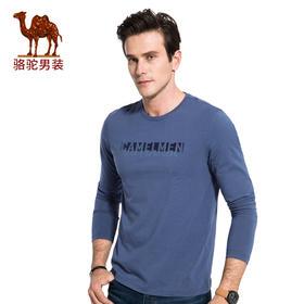【领券买 更划算】骆驼男装 秋季新款圆领休闲套头男士T恤时尚男上衣D7A297322