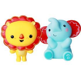 费雪洗澡玩具宝宝游泳戏水玩具捏捏叫动物卡通玩偶6个月婴儿玩具