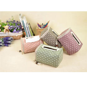 田园风可爱小点点纸巾盒
