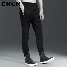 CNCN男装 潮流时尚休闲裤螺纹收口小脚裤拼接个性裤子 CNAK31003