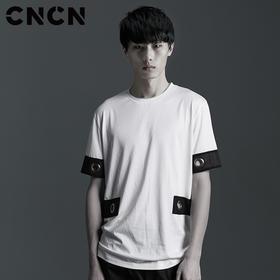 CNCN男装 夏季短袖T恤 男士拼接黑白圆领体恤CNBT29067