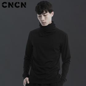 CNCN男装 春季男士长袖t恤 潮流高领弹力打底衫 CNAT30901