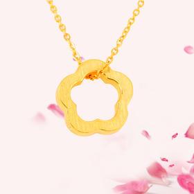 love花型  3D足金吊坠套链