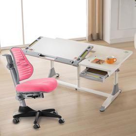 台湾康朴乐1.4米宽 旗舰款 耶鲁书桌 + 柯南尼龙椅 / 柯南椅套装,L型大桌面,功能性强,多色可选