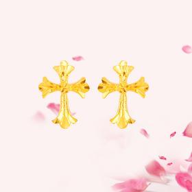 十字架 足金耳钉