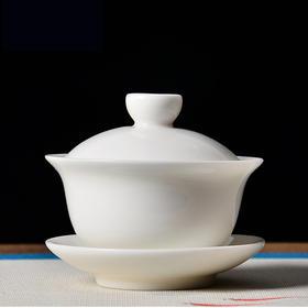 永利汇 羊脂白玉白瓷三才盖碗陶瓷手抓功夫泡茶碗盖杯纯手工茶具