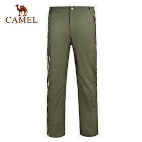 骆驼户外男款冲锋软壳裤 防风保暖徒步户外软壳裤A4W218126