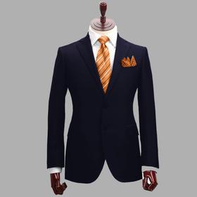 男士70%羊毛混纺平驳领单排两粒扣西服
