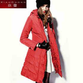 【骆驼子品牌-小虫】小虫冬装欧美时尚大码保暖羽绒外套修身连帽羽绒服女中长款潮XC4DYR005