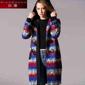 【骆驼子品牌-小虫】小虫冬季新款欧美时尚针织连帽宽松撞色修身中长款棉衣外套女X5DMN0500