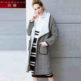 【骆驼子品牌-小虫】小虫秋冬新款欧美时尚格纹皮革羊羔绒H型中长款风衣外套女潮X5DDW0610