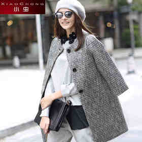 【骆驼子品牌-小虫】小虫秋冬新品女装欧美时尚修身显瘦小香风加厚复古外套大衣女TE4DMN147