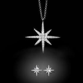 【VogueVIP特惠】APM MONACO银色繁星项链耳环套装