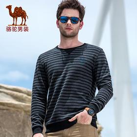 骆驼男装 秋季新品男士宽松舒适休闲棉质条纹圆领长袖卫衣FQ7374109