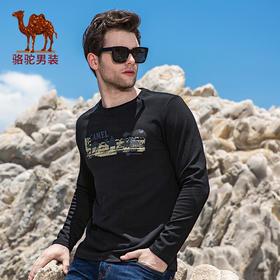 骆驼男装 秋季新款时尚男士青年休闲磨毛印花棉质圆领长袖T恤FA7224120
