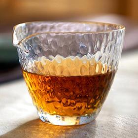 耐热玻璃锤目纹公道杯 日式分茶器 加厚公杯锤纹茶海功夫茶具配件