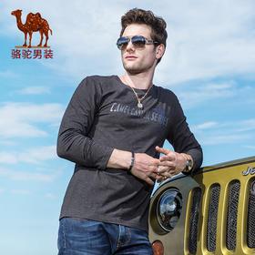 骆驼男装 秋季新款时尚青年棉质印花休闲修身长袖圆领T恤FA7397119
