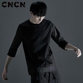 CNCN男装 秋季中袖新款T徐 男士个性潮流暗黑长袖T恤 CNCT39041