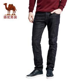 骆驼男装 秋季新款时尚男士商务休闲水洗中腰直筒棉质牛仔裤长裤FX7384107