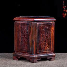 老挝红酸枝六角抽纸盒复古典雅新款餐巾盒雕刻送礼