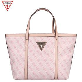 【秒杀产品】GUESS BRAMBLE2粉色白色欧美时尚字母印花PVC女士单肩包