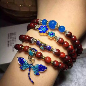 印度小叶紫檀0.6手链女108手串原创设计闺蜜学生上班族蝴蝶款