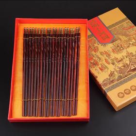 老挝红酸枝木筷嵌铜头纯天然送礼家用老红木