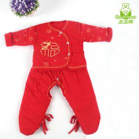 宝宝冬季加厚棉衣套装婴儿过年红色唐装礼服男女童棉衣满月百岁服