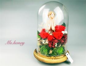 玫瑰雨林的天使  永生花玻璃罩