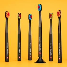 【刷牙都是爱你的形状 情侣牙刷】瑞士Doctor&Co牙刷 4支+2底座套装
