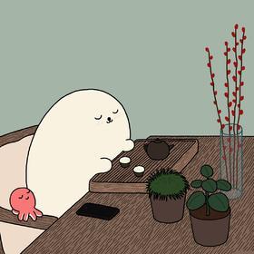 【王XX限量版画】喝茶