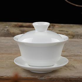 素瓷 高白盖碗 3.5茶备 润釉 德化白瓷 评茶盖碗 LOGO定制