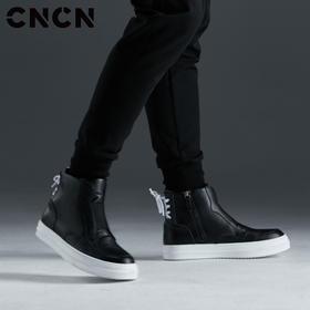 CNCN男装 2017新款高帮潮流牛皮鞋 男士白搭时尚增高运动鞋 CNCP33301