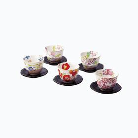 日本抚松庵煎茶茶杯5组(附茶托)