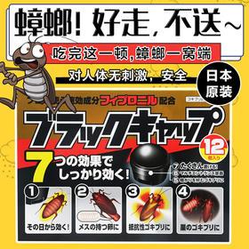 【蟑螂一锅端!当晚就见效!】日本进口ARS 安速小黑帽环保无毒灭蟑螂药 无味除小强小黑屋12枚  好走,不送~