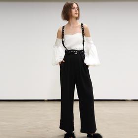 SYUSYUHAN设计师品牌 个性秀场金属圆环可脱卸背带腰带直筒阔腿裤