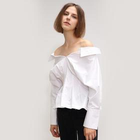 SYUSYUHAN设计师品牌 两穿可露肩微性感蝙蝠袖立体褶收腰衬衫